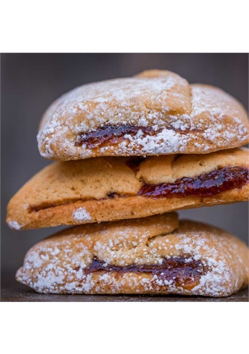 Frollini biscuits with cherry, apricot and orange jam